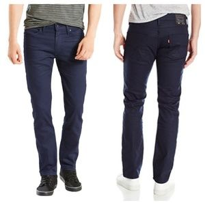 LEVI'S 511 Slim Fit Jeans Waxed Coated Blue Stucco